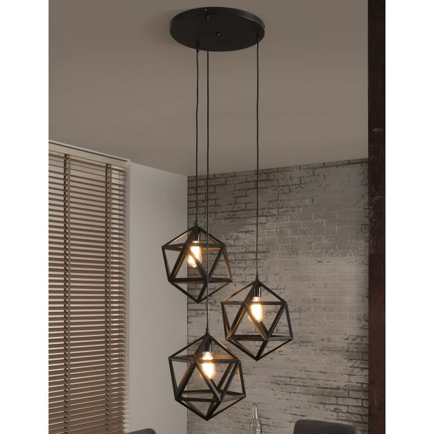 Vico Polygon - hanglamp 3L - 65 x 150 cm - zwart
