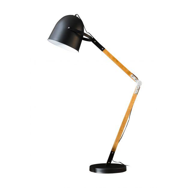 Vico Wooden Hinge - staanlamp - 150 cm - zwart