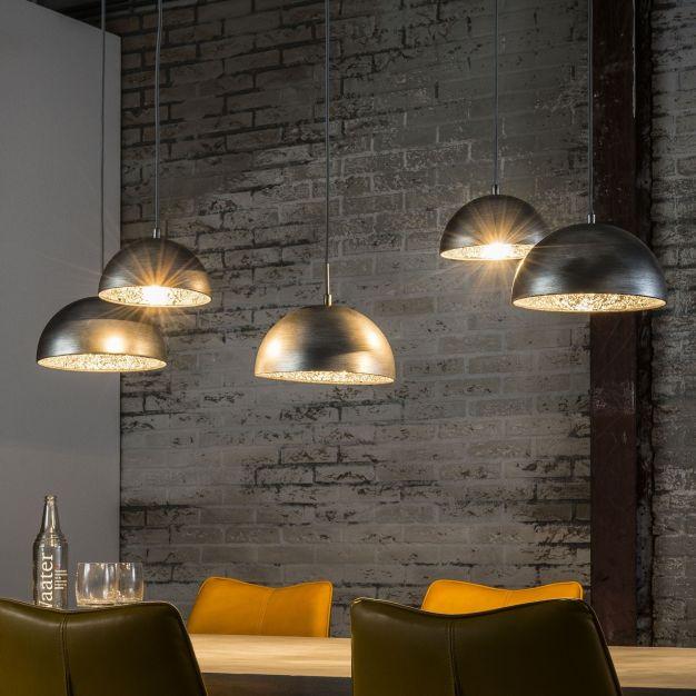 Vico Crossbar - hanglamp 5L - 123 x 54 x 150 cm - oud zilver
