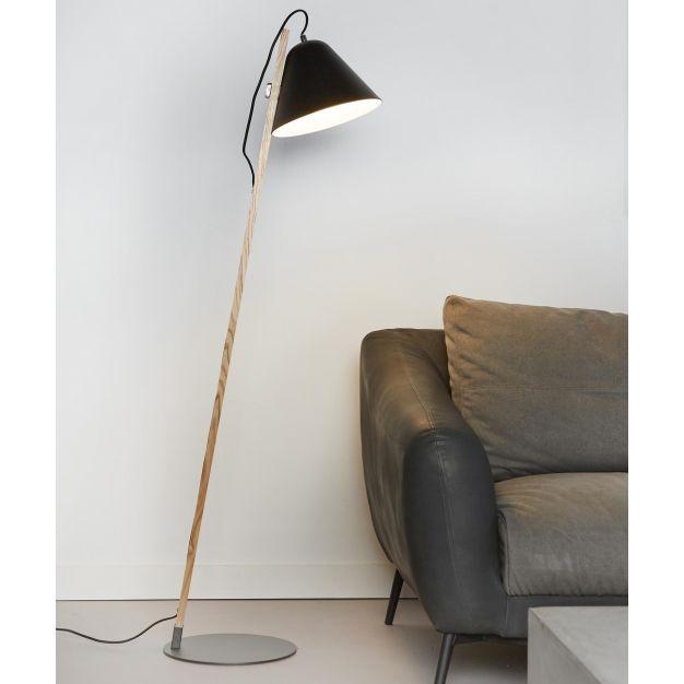 Vico Torque Wood - vloerlamp - 135 cm - zwart (OP=OP!)