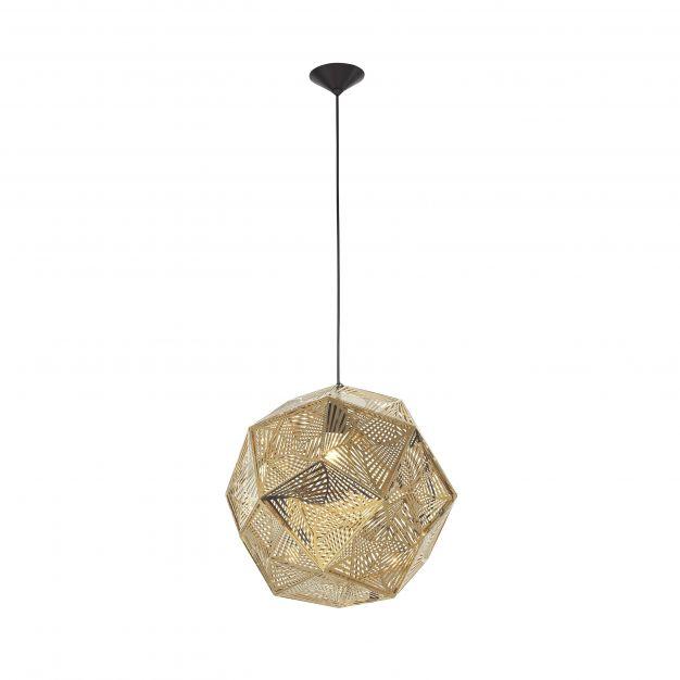 Nova Luce Foggia - hanglamp - Ø 48 x 180 cm - goud en zwart