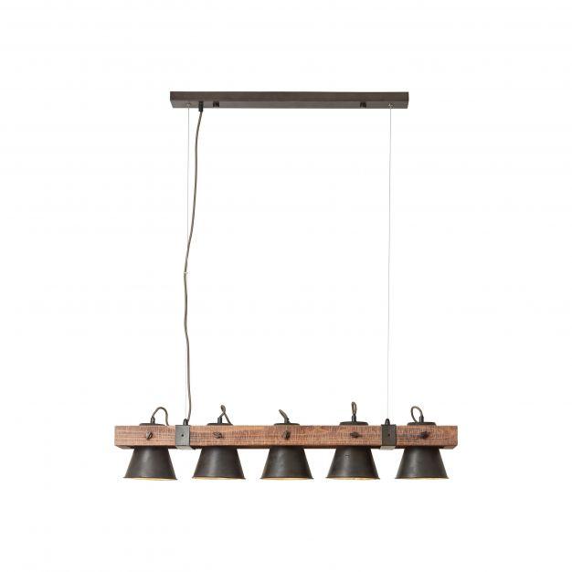 Brilliant Plow - hanglamp - 95 x 20 x 115 cm - zwart en bruin