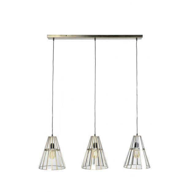 Vico Art Deco Cone - hanglamp - 112 x 27 x 150 cm - antiek brons
