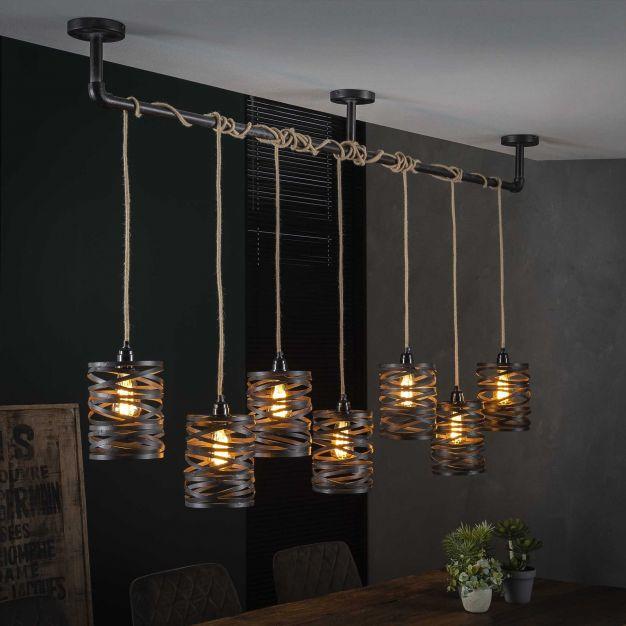 Vico Spindle - Hanglamp - 157 x 15 x 150 cm - leisteengrijs