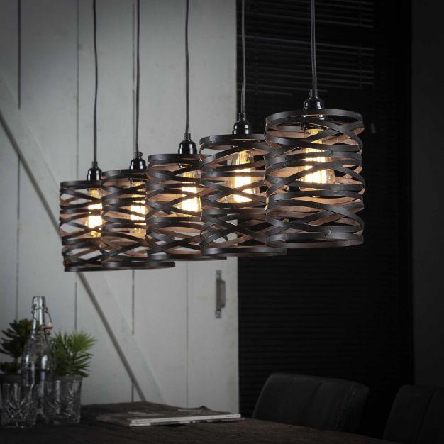 Vico Spindle - hanglamp - 117 x 16 x 150 cm - leisteengrijs