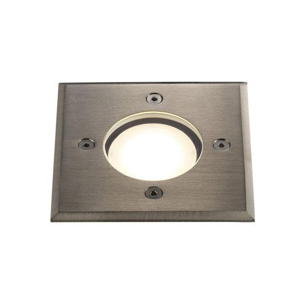 Nordlux Pato Square - grondspot voor buiten - 110  x 110 mm, Ø 90 mm inbouwmaat - IP65 - roestvrij staal