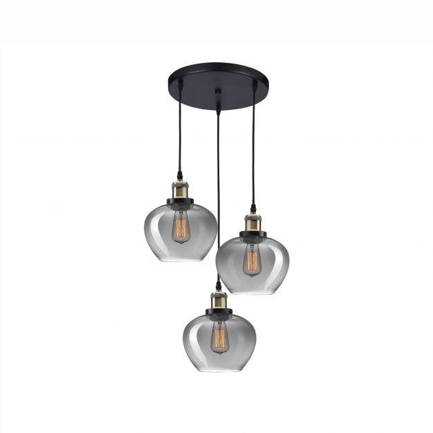Nova Luce Cedro - hanglamp 3L - Ø 35 x 130 cm - gerookt glas