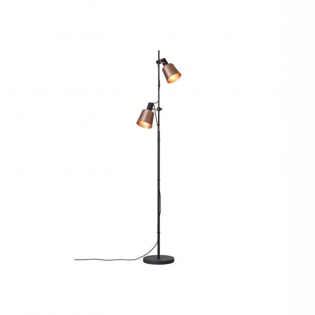 Brilliant Santo - staanlamp - 44 x 25 x 170 cm - koper en zwart
