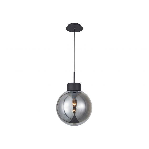 Brilliant Astro - hanglamp - Ø 30 x 120 cm - zwart en gerookt glas