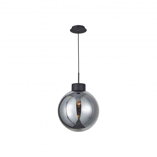 Brilliant Astro - hanglamp - Ø 35 x 120 cm - zwart en gerookt glas