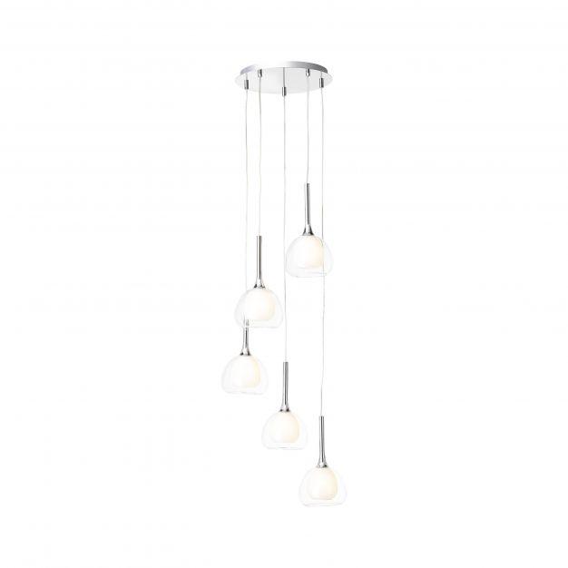 Brilliant Hadan - hanglamp - Ø 43 x 172,5 cm - wit en chroom