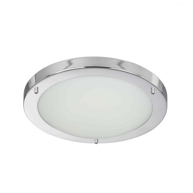 Searchlight LED Flush - plafondlamp badkamer - Ø 31 x 8 cm - 12W LED incl. - IP44 - wit en chroom