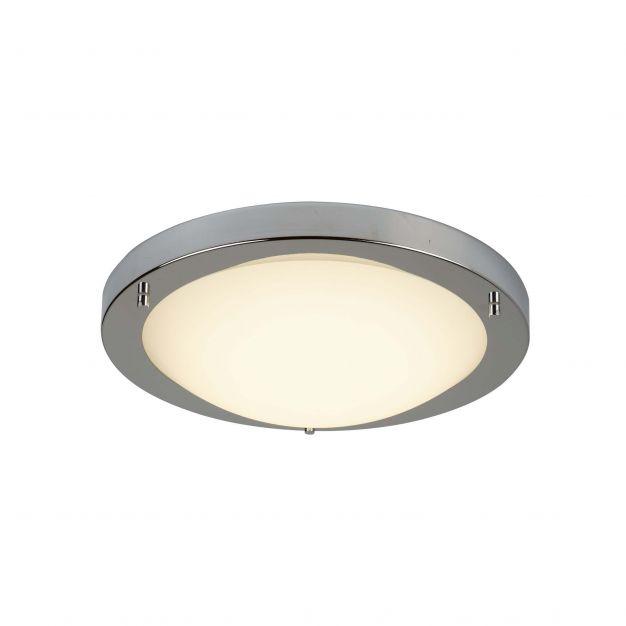 Searchlight LED Flush - plafondlamp badkamer - Ø 31 x 8 cm - 12W LED incl. - IP44 - satijn zilver en wit