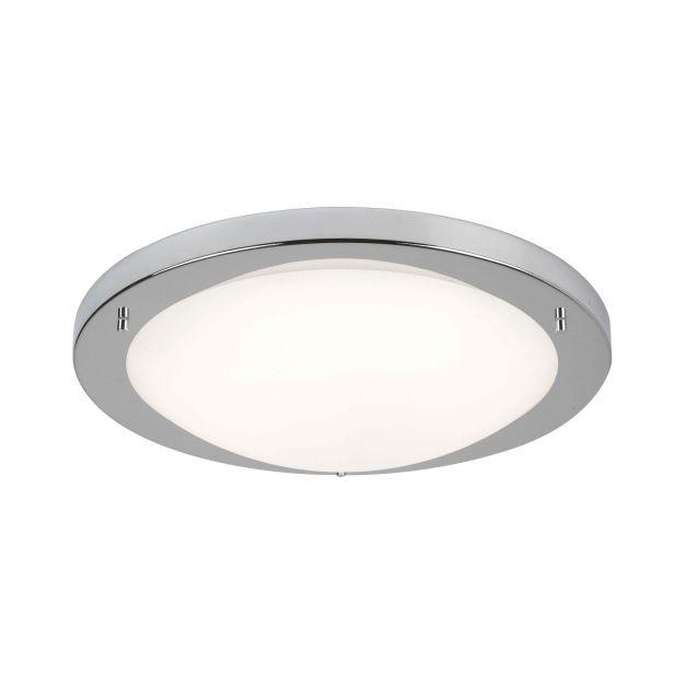 Searchlight LED Flush - plafondlamp badkamer - Ø 41 x 9 cm - 20W LED incl. - IP44 - satijn zilver en wit