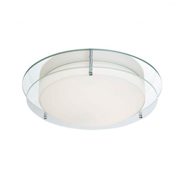 Searchlight Bathroom Flush - plafondlamp badkamer - Ø 38 x 11 cm - 20W LED incl. - IP44 - chroom