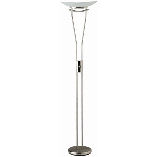 Brilliant Ravenna - staanlamp - 180 cm - 230W dimbare halogeen incl. - satijn chroom, wit