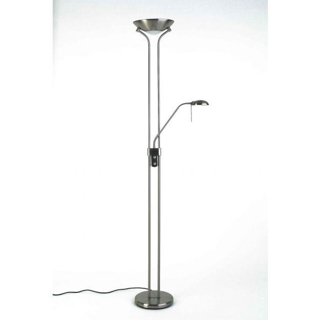Brilliant Nebraska - staanlamp - 180 cm - 230W + 33W dimbare halogeen incl. - satijn chroom