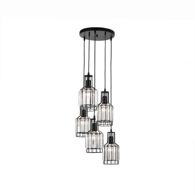 Nova Luce Carter - hanglamp - Ø 50 x 120 cm - zwart