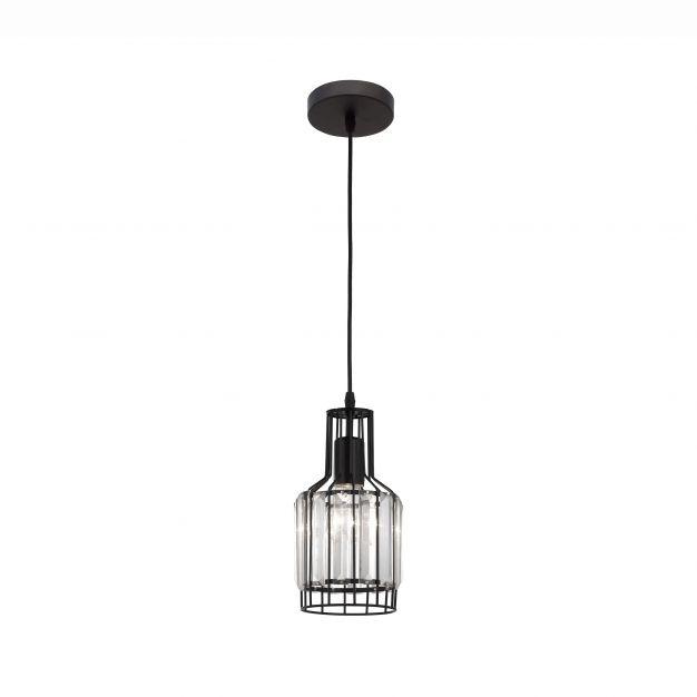 Nova Luce Carter - hanglamp - Ø 13,5 x 120 cm - zwart