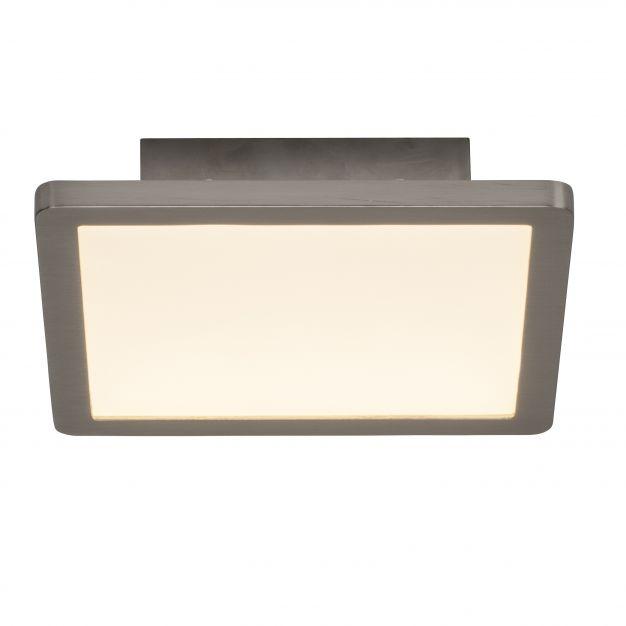 Brilliant Scope - plafondverlichting - 20 x 20 x 5 cm - 15W easydim LED incl. - satijn chroom / wit