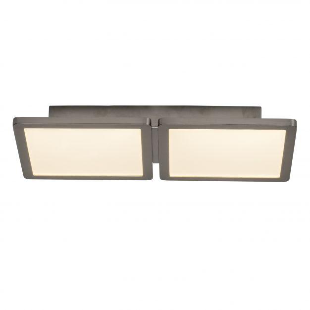 Brilliant Scope - plafondverlichting - 41 x 20 x 5 cm - 2 x 15W easydim LED incl. - satijn chroom / wit