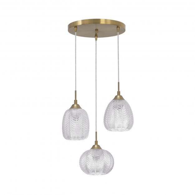 Nova Luce Vario - hanglamp - Ø 39 x 120 cm - satijn goud en transparant