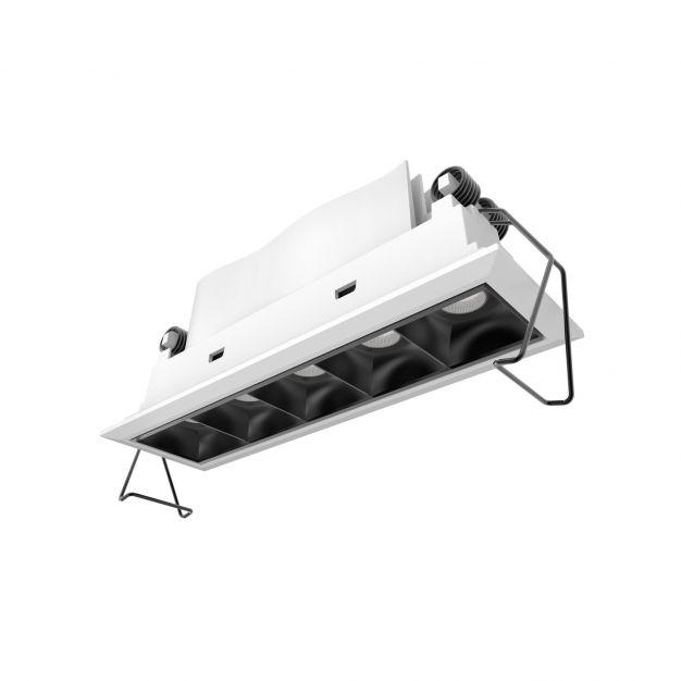 Nova Luce Swan - inbouwspot - 150 x 45 mm, 142 x 40 mm inbouwmaat - 5 x 2W LED incl. - IP32 - wit en zwart