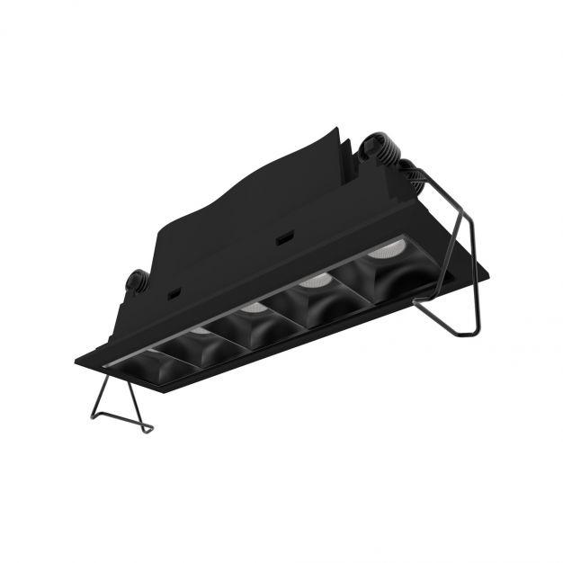Nova Luce Swan - inbouwspot - 150 x 45 mm, 142 x 40 mm inbouwmaat - 5 x 2W LED incl. - IP32 - zwart