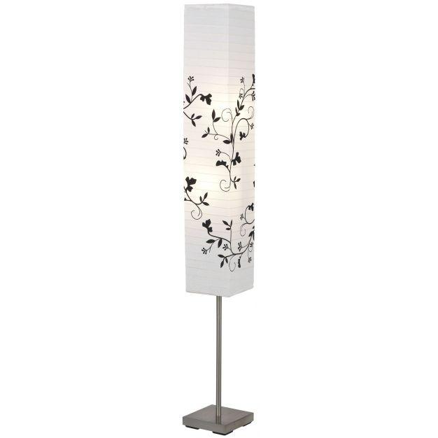 Brilliant Narvo - staanlamp - 145 cm - wit, satijn chroom, zwart