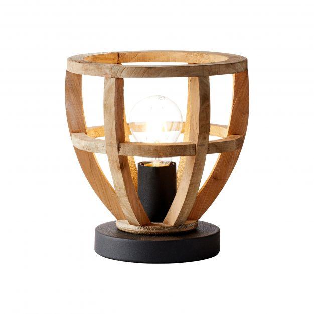 Brilliant Matrix Wood - tafellamp - Ø 20 x 21,5 cm - antiek hout