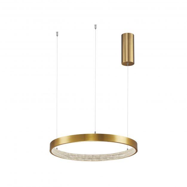 Nova Luce Preston - hanglamp - Ø 40 x 120 cm - 25W dimbare LED incl. - antiek goud messing