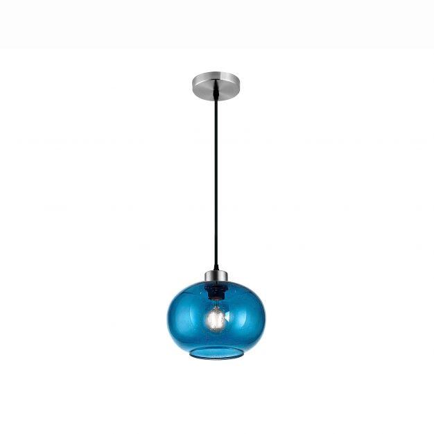 Nova Luce Jade - hanglamp - Ø 30 x 120 cm - blauw glas