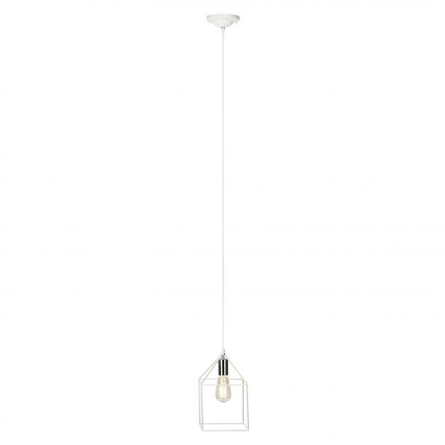 Brilliant Home - hanglamp - 25 x 139 x 25 cm - satijn chroom / wit