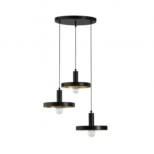 Nova Luce Garni - hanglamp - Ø 56 x 120 cm - zwart en goud
