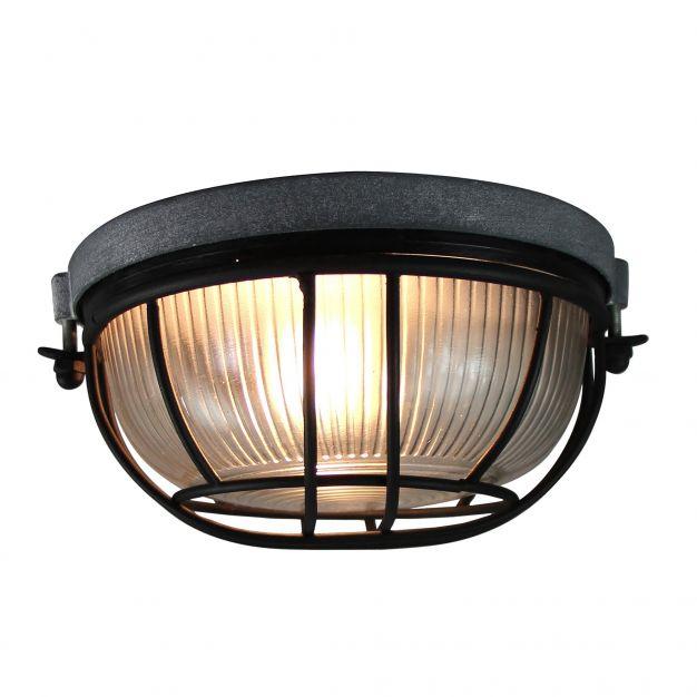 Brilliant Lauren - plafondverlichting - Ø 18 x 11 cm - beton / zwart