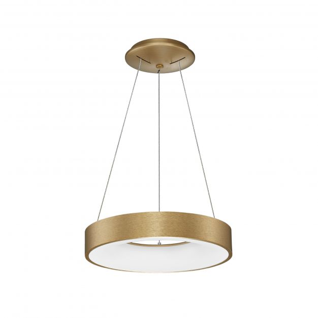 Nova Luce Rando Thin - hanglamp - Ø 38 x 120 cm - 30W dimbare LED incl. - geborsteld goud
