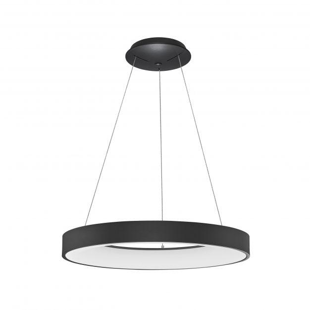 Nova Luce Rando Thin - hanglamp - Ø 60 x 120 cm - 50W dimbare LED incl. - zand zwart - witte lichtkleur