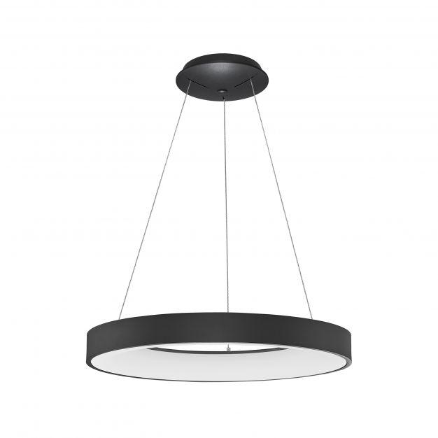Nova Luce Rando Thin - hanglamp - Ø 60 x 120 cm - 50W dimbare LED incl. - zand zwart - warm witte lichtkleur