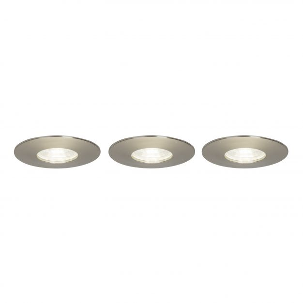 Brilliant Nodus - set van 3 - Ø 82 mm, Ø 68 mm inbouwmaat - 4W LED incl. - IP44 - staal
