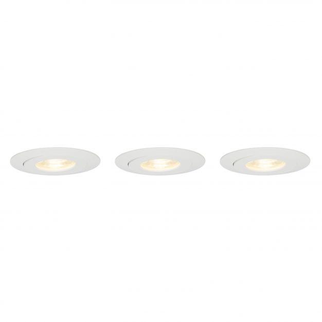 Brilliant Nodus - set van 3 - Ø 88 mm, Ø 74 mm inbouwmaat - 3 x 4W LED incl. - IP44 - wit