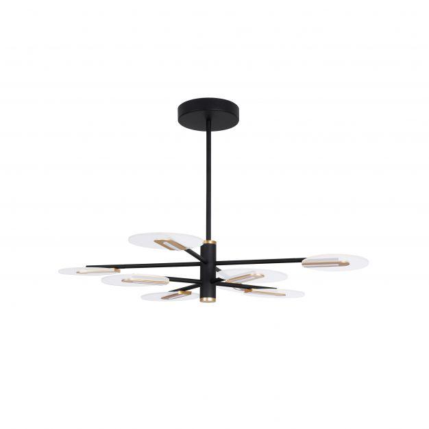 Nova Luce Genti - hanglamp - Ø 89 x 63 cm - 56W LED incl. - zwart en goud