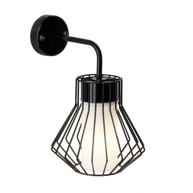 Brilliant Dalmext - buiten wandverlichting - 20 x 30 x 25 cm - zwart / wit glas