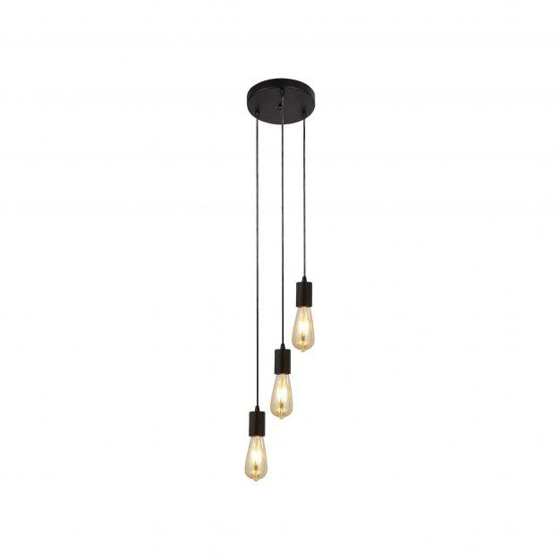 Searchlight Squiggle - hanglamp - Ø 20 x 150 cm - mat zwart
