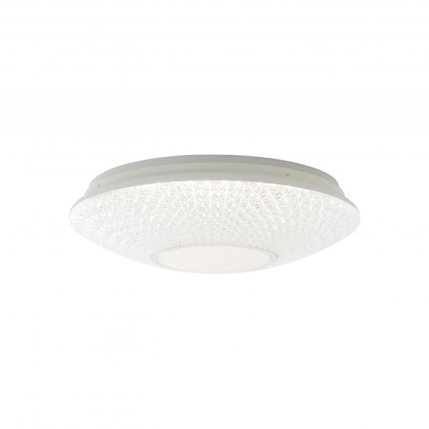 Brilliant Lucian - plafondverlichting RGB met afstandsbediening - Ø 50 x 15 cm - 32W dimbare LED incl. - wit