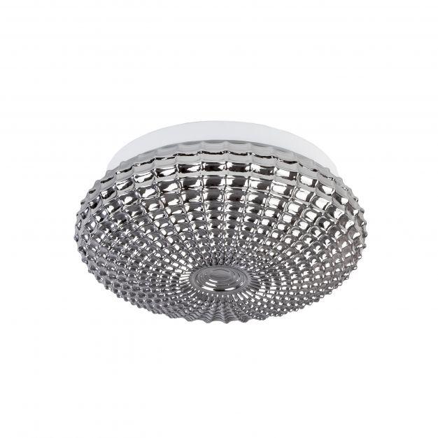 Nova Luce Clam - plafondlamp badkamer - Ø 30 x 12 cm - IP44 - rook chroom