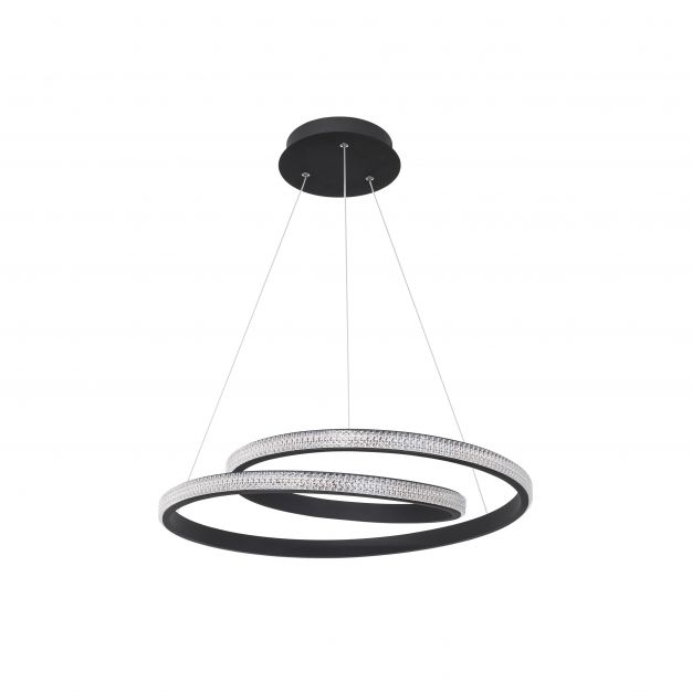 Nova Luce Grania - hanglamp - Ø 55 x 120 cm - 25W dimbare LED incl. - zand zwart