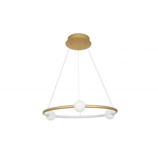 Nova Luce Celia - hanglamp met afstandsbediening - Ø 64 x 120 cm - 36W dimbare LED incl. - satijn goud en opaal
