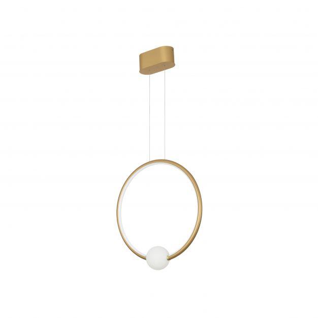 Nova Luce Celia - hanglamp met afstandsbediening - 43 x 10 x 120 cm - 25,6W dimbare LED incl. - satijn goud en opaal