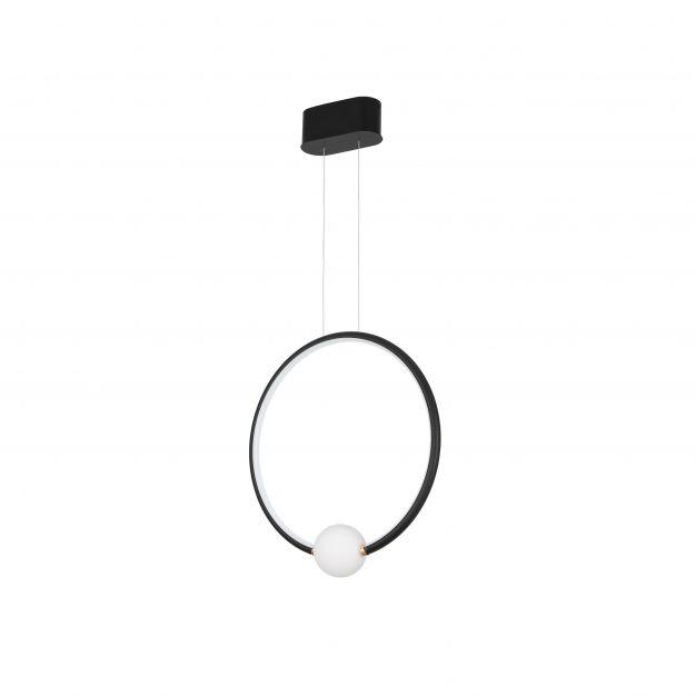 Nova Luce Celia - hanglamp met afstandsbediening - 43 x 10 x 120 cm - 25,6W dimbare LED incl. - zwart en opaal