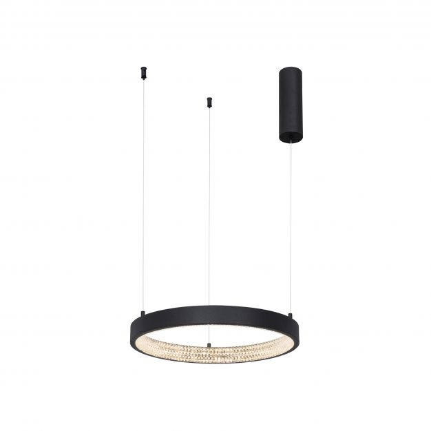 Nova Luce Preston - hanglamp - Ø 40 x 120 cm - 25W dimbare LED incl. - zand zwart